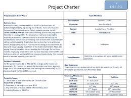 project charter sample example of six sigma project charter on productivity improvement
