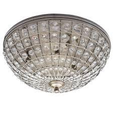 large crystal basket flush ceiling light antique brass free delivery