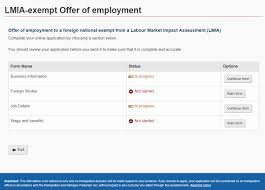 employer portal user guide image of the offer of employment page as described below