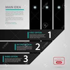 3 つの黒い紙ストライプとオプションと最新の Web デザイン テンプレート