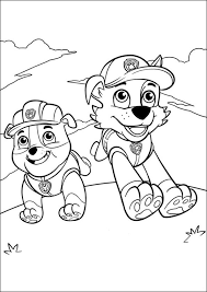 Paw Patrol Coloring Pages Rubble And Rocky Coloringstar