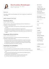 Housekeeper Resume 100 Housekeeper Resume Templates Free Download 23