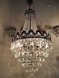 antique vnt french big basket crystal chandelier lamp 1940 s 15in Ø dmtr rare