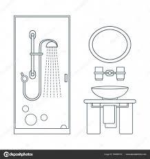 バスルームのインテリア デザインのかわいいベクトル イラスト Cab を