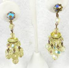yellow crystal bead chandelier earrings garden party collection vintage jewelry