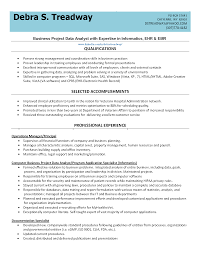 List Qualifications Business Project Data Analyst Resume Example