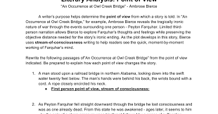 point of view occurrence at owl creek bridge google docs