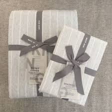 details about west elm flannel pinstripe duvet cover 2 pillowcases 3pc king frost gray