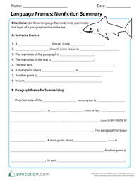 Frayer Frames Language Frames Nonfiction Summary Worksheet Education Com