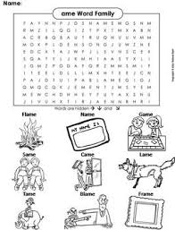 A word family is basically a group of words with the same sound pattern. Ame Word Family Word Search Coloring Sheet Phonics Worksheet By Science Spot