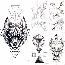 Black Geometry Tribal Wolf Waterproof Tattoo Men Body Arm Art