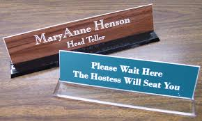 acrylic desk nameplate holder with name plate