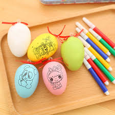 colorful diy easter eggs kids painting toys for children plastic drawing egg with watercolor pen educational