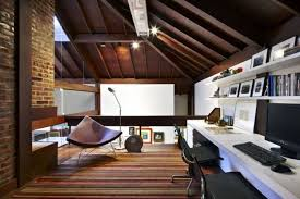 awesome home office ideas in the attic with long white desk and black chairs on colorful amazing modern home office