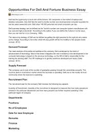 ukessays com opportunities for dell and fortune business essay