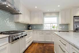 Perfect Glass Mosaic Backsplash White Cabinets River White Granite White