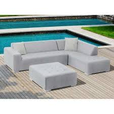 eden 3 piece gray aluminum outdoor sectional set with gray sunbrella cushions
