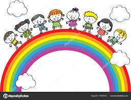Enfants Dessin Anim Avec Vecteur Arc Ciel Image Vectorielle