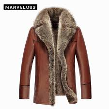 manvelous fur collar leather jacket men winter brown mens leather fur coats black warm thick leather jacket men overcoats