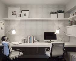 wallpapered office home design. Example Of A Trendy Built-in Desk Home Office Design In Vancouver With Gray Walls Wallpapered