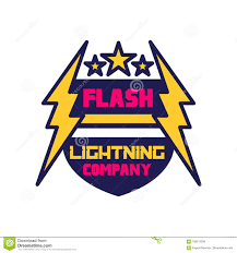 Flash Lightning Company Logo Template Badge With Lightning
