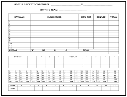 Cricket Score Card Format Bdpssa Cricket Score Sheet Download Printable Pdf