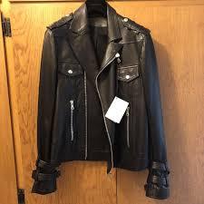 balmain paris black leather biker jacket men women fashion moto jackets