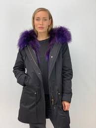 <b>Black</b> Parka with <b>Fox Fur</b> Lining and Raccoon Collar - Purple ...