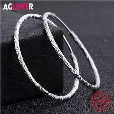 AGLOVER New 925 Silver For Women Drop Earrings Genuine ...