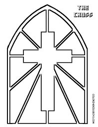 Printable Stained Glass Cross Coloring Page Religious Craft Ideas
