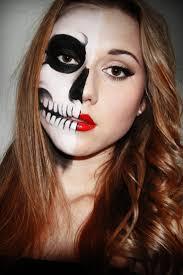 half face skeleton makeup cool skull half face paint makeup idea