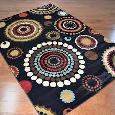 delectably yours com city circle dots black area rug 5x8 8x10 and 2x8 hall