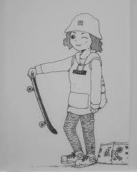 オリジナルイラスト手描きイラストsbg自作 女の子 ハンドメイド 絵 白黒 モノクロ アナログ アート 原画