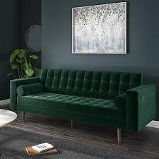 elba 3 seater green velvet sofa