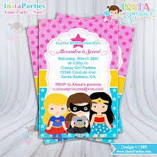 Superhero Girl Invitations Invitation Super Birthday Party