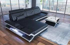 Details About Sofa Eckcouch Designersofa Couch Leder Napoli L Form Eck Ledersofa Ottomane Led
