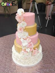 5 Tiered Pink White And Gold Quinceanera Cake With Sugar Flowers