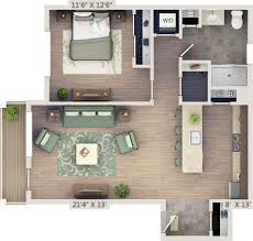 One Bedroom 2D Floor Plan With Study. NetZero Village   1 BR, (artistu0027s  Rendering, For General Reference Only)