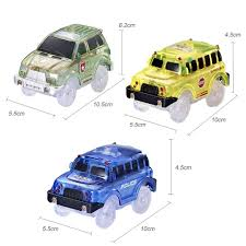 Slot Car Led Lights Magic Tracks Kids Light Up Police Vehicle Toy Slot Car With