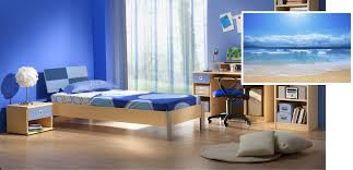 Appealing Blue Themes Guys Bedroom Decors With Wooden Single Bed Also Study  Desk Added Blue Best Colors For Bedrooms Ideas