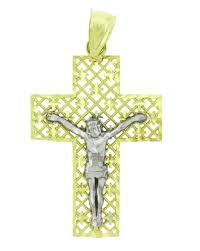 solid 14k gold 2 tone cross crucifix religious charm pendant 38x23 mm nodxqu4728 precious metal without stones