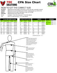 Chicago Protective Apparel Sizing Charts