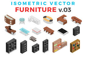 isometric office furniture vector collection. Vector Furniture Isometric Flat V.3 By Sentavio On @creativemarket Office Collection O