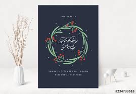 Holiday Party Invitation Layout With Wreath Illustration Buy This