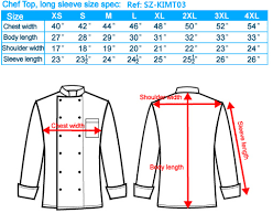 Chef Jacket Size Chart Chef And Kitchen Wear Size Chart