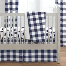 navy buffalo check 3 piece crib bedding set