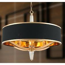 glam collection 4 light matte gold finish with black drum shade chandelier d x dining room