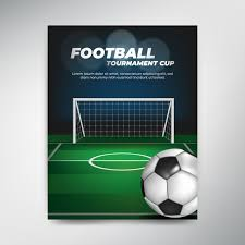 soccer field templates soccer tournament cup poster on green background with ball and field