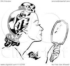 hand holding mirror drawing. 1080x1024 Clipart Retro Black And White Woman Using A Hand Mirror Holding Drawing N