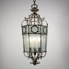 sold large antique art deco six light lantern chandelier with original etched glass c